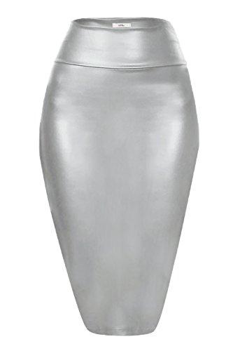 Scuba Pencil Skirt Midi Bodycon Skirt Below Knee Skirt, Office Skirt High Waist (Size Small, Silver Leather) (Metallic Pencil Leather Skirt)