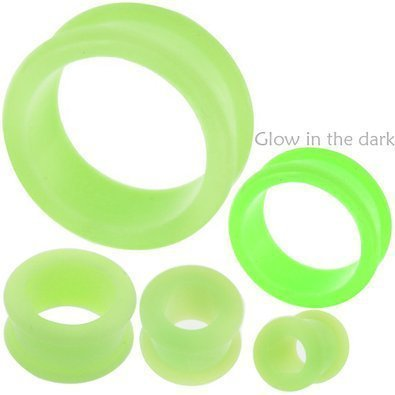 2 Color Glow Gauges - 2 gauges 2g ear plugs glow in the dark silicone flesh tunnels flare expander stretcher taper MoDTanOiz