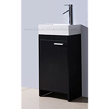 bathroom sink home depot corner vanity vessel combo inch small freestanding modern contemporary narrow tiny short cabinet black