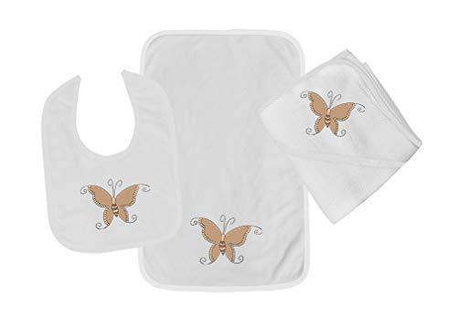 Butterfly Brown Cotton Boys-Girls Baby Bib-Burb-Towel Set - White, One Size