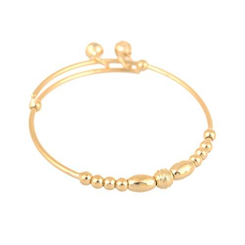 (24k Gold Filled Adjustable Children's Bracelet Baby's Bangle with 2 Bells Pendant(2pcs/lot))