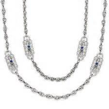 Kennedy Designer Jackie - Jackie Kennedy Paperclip Necklace (Silver-Rhodium) Clear CZ Stones or Blue Stones