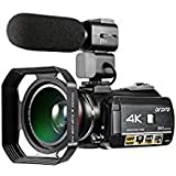 ORDRO Camcorder 4K Ultra HD 60FPS Video Camera with Wifi External Microphone Wide Angle Lens and Lens Hood