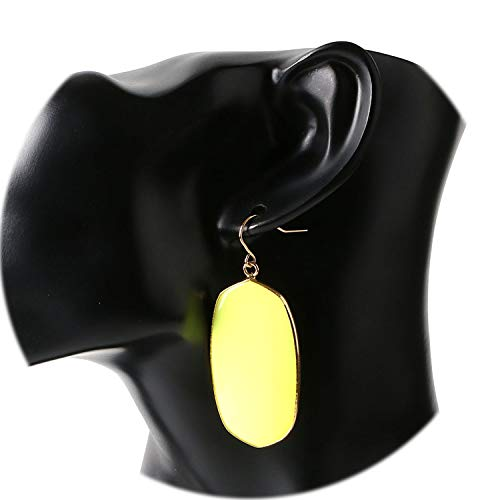 - Natural Stone Dangle Earrings Gold Color Hook Crystal Tiger Eye Black Onyx Lapis Eardrop Jewelry,Yellow