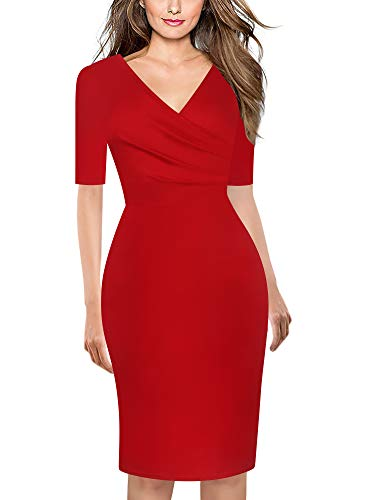 - oxiuly Women's Elegant V-Neck Short Sleeve Cotton Stretchy Work Sheath Bodycon Pencil Dress OX286 (Red Solid, XXL)