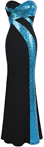 Angel-fashions Mujer Sin Tirantes Novio Cruzado Clasico Negro Blanco Vestido de Noche Azul Cielo Negro