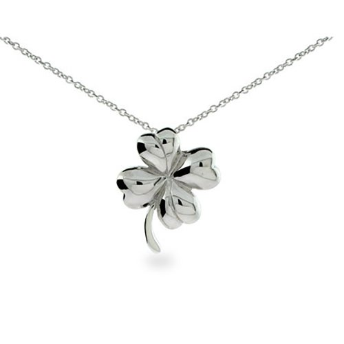 Good Luck Sterling Silver Four Leaf Clover Pendant