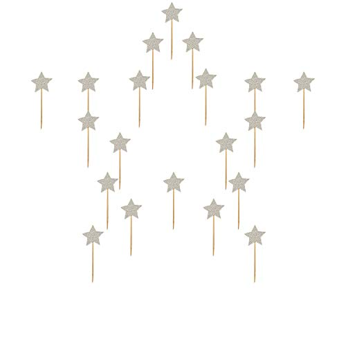 50pcs Cupcake Topper silver star Cupcake Toppers Wedding Bamboo Fruit Cocktail Forks Party Finger Food Wedding Cupcake Toppers, Bridal Shower Cupcake Toppers Valentine's Day Cupcake Toppers