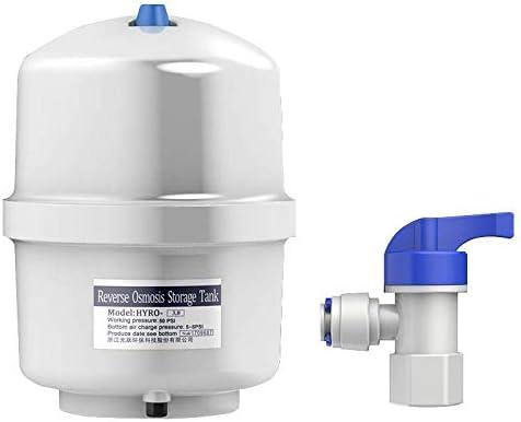 BAOSHISHAN RO Wasserspeicher, 9 Liter, NSF-zertifiziert, mit Kugelhahn für reines Wasser Umkehrosmosewasserspeicher Drucktank, ZQ-771C, weiß, 10 Gallon