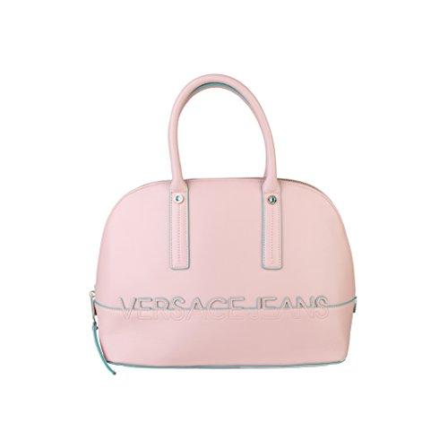 Versace Jeans Womens/Ladies Eco Leather Handbag With Applied Logo (One Size) (Pink/Light Blue) (Pink Ladies Bowling Bag)