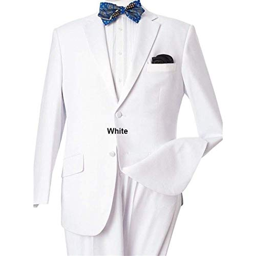 (Mens White 2 Button Classic Fit Tuxedo New with Sateen Trims(54L/48W Regular))