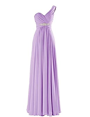 CaliaDress Women One Shoulder Bridesmaid Dress Prom Evening Gowns Long C198LF
