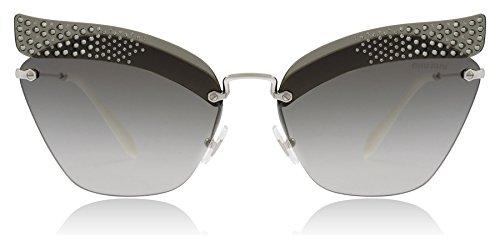 Miu Miu Women's 0MU 56TS Transparent Grey/Silver/Gradient Grey Mirror Silver One Size (Gray Miu Miu Sunglasses)