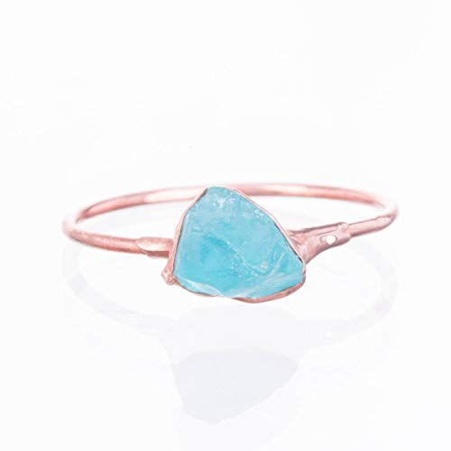 SIZE 6 Raw Crystal Ring, Rose Gold, Boho Jewelry, Rough Apatite