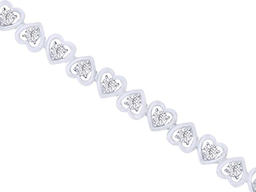White Natural Diamond Heart Link Bracelet in 14k White Gold Over Sterling Silver (0.07 Cttw) 7.25 '' by AFFY