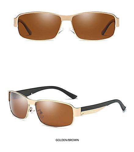 Wang-RX Metal Square Hd gafas de sol polarizadas Hombres que ...