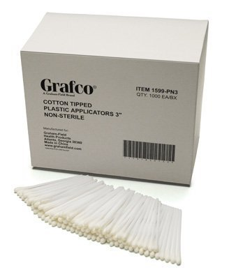 GF Health 1599-PN6 Plastic Cotton-Tipped Plastic Applicators, 6'' (Pack of 1000)