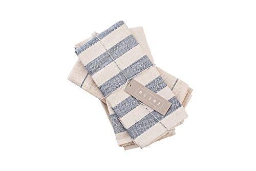 MEEMA Dish Towels Cotton Kitchen Towels | Super Absorbent Weave | Made with Upcycled Denim and Cotton | Set of 4, 20 x 28 in. Zero Waste Unpaper Towels Kitchen Towels and Dishcloths Sets