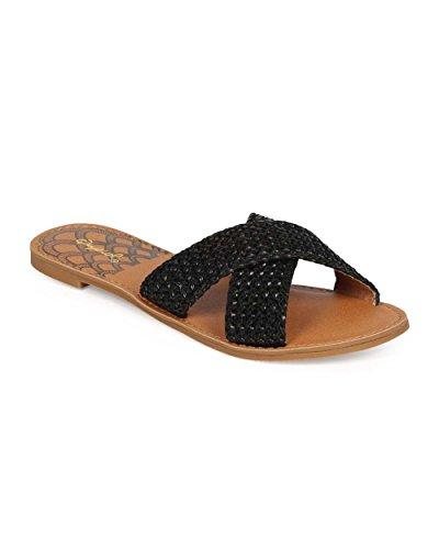 Qupid EE23 Women Women Peep Toe Criss Cross Platform Slipper Sandal - Black (Size: 8.0)
