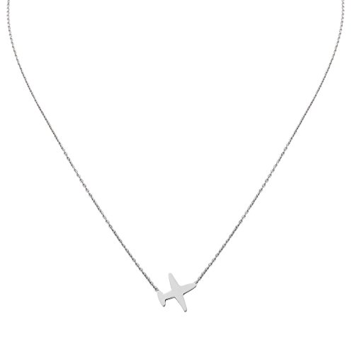 Women Plane Chain Necklace. Tiny Silver Tone Stainless Steel Gift Box Travel Symbol Charm Pendant Jewelry by Traveller Treasures (Image #1)