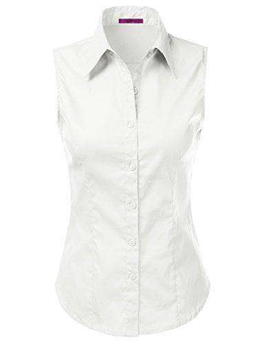 BASIC Womens Sleeveless Button Shirts
