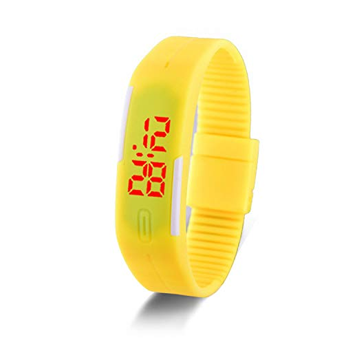 - Watches Candy Color Silicone Rubber Touch Sn Digital Watches, Women Men Sports Wristwatch,Yellow