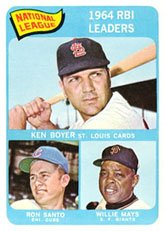 - 1965 Topps Regular (Baseball) Card# 6 Boyer/Mays/Santo of the St. Louis Cardinals VG Condition