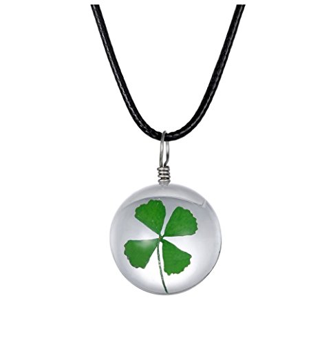 Anastasia 4 Light Pendant (Winter's Secret DIY Handmade Round Shape Crystal Glass Dried Green Four Leaf Clover Flower Specimen Pendant Lucky Choker Necklace with Rope Chain)