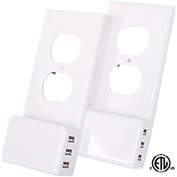 USB Outlet Wall Plate Duplex - With LED Night Light