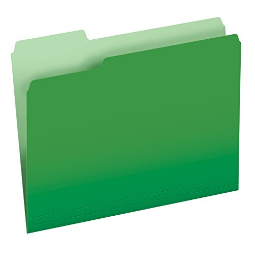 Pendaflex Two-Tone Color File Folders, Letter Size, 1/3 Cut, Bright Green, 100 per Box (152 1/3 BGR) (Green File Folders Letter)