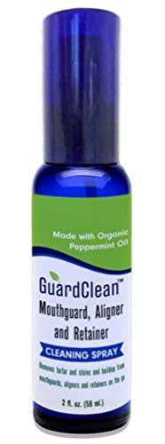 GuardClean Mouthguard, Aligner and Retainer Cleaning Spray Fights Stains, Tartar and Harmful Bacteria, Handy Travel Size for Use On the Go, at Home, TSA Friendly, Works Fast, All Natural Ingredients