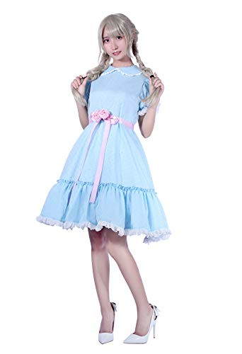 Women's Sweet Lolita Dress Blue Cotton Bow Puff Skirts Halloween Costumes