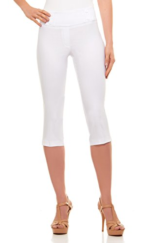 Capris Stretch Classic (Velucci Womens Classic Fit Capri Pants - Comfortable Pull On Style with Detailed Design, White-S)