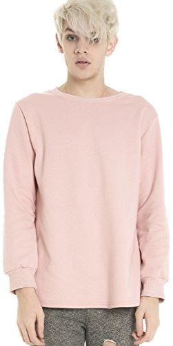 Pizoff Mens Unisex Side Split Big Drop Tail Long Sleeve Jersey Sweat Top T Shirt (Skateboard Brand Necklace)
