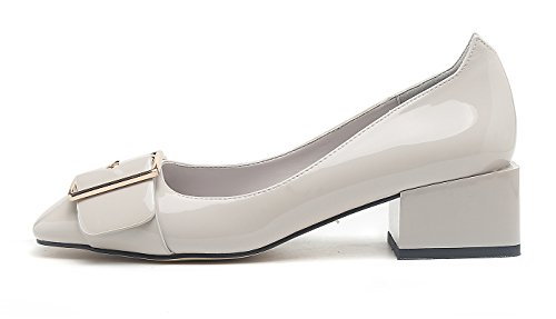Gray Block Heel Shoes Low Top Pumps Toe Womens Chic Mid Solid Slip Buckle Walk Square CHFSO On waPgAa