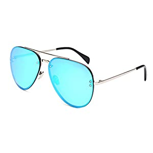 Aviator Oversized Women Men Metal Sunglasses Fashion Designer Silver Frame Blue Mirror Lens OWL