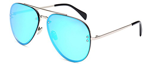 Aviator Oversized Women Men Metal Sunglasses Fashion Designer Silver Frame Blue Mirror Lens - Designer Online Frames