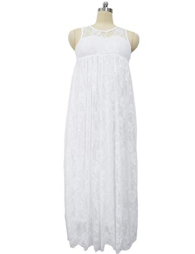 SEBOWEL Floral Lace A-line Sleeveless Ruffles Holiday Party Flower Girl Dress -