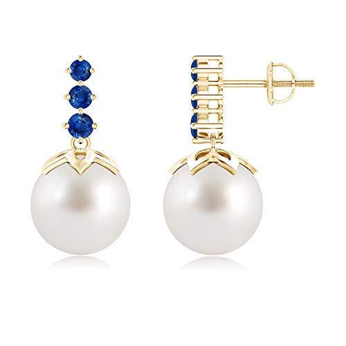 South Sea Cultured Pearl Earrings with Graduated Sapphire in 14K Yellow Gold (10mm South Sea Cultured Pearl)