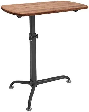 炭素鋼 高さ調整 エルゴノミクス 昇降式デスク ダークオークパネル 付き,怠惰な人の机 テーブル 高さ調節可能、ロック可能なキャスター