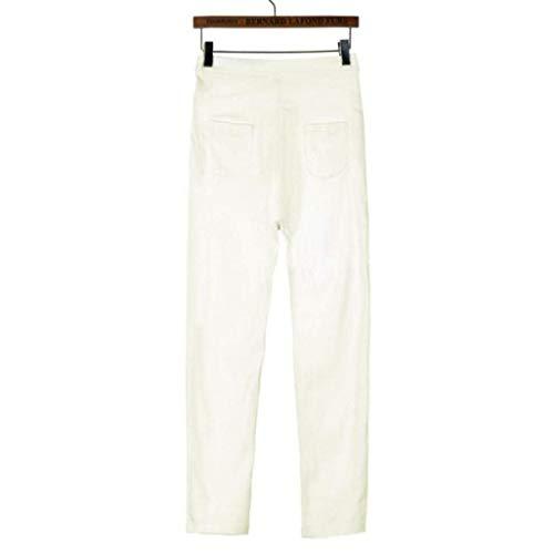 De Vaqueros Mezclilla Hombres Verano Estilo Harem Sencillos Dchen Color Pantalones Multi Blanco Mujer TdpTq