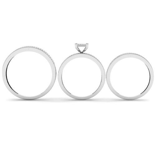0.50 Carat (ctw) 10k Gold Diamond Mens & Women Micro Pave Engagement Ring Trio Bridal Wedding Set 1/2 CT