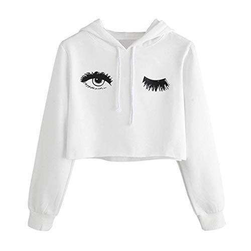 Capuche Blanc Taille Élégant Manches Automne Motif Casual Sweat À Plus Pull Camicia Crop Top Avec Longues La Femmes Jeune D'impression Mode Cappuccio Décontracté 1wBvPq