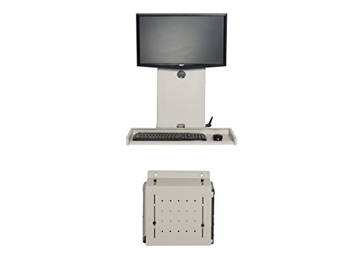 Versa Tables Ultra Slim Adjustable Wall Mounted Desktop Workstation with CPU Holder, Keyboard Tray & Universal Monitor Mount, Gray