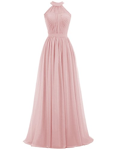 Womens Bridesmaid Evening Halter Maxi Chiffon Dresses Prom Wedding Long Cdress Blush TdCB1wWTq