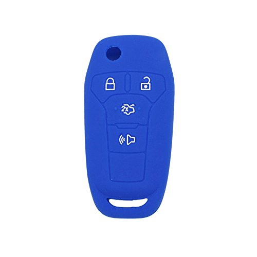 SEGADEN Silicone Cover Protector Case Skin Jacket fit for FORD Fusion 4 Button Flip Remote Key Fob CV2711 Deep Blue