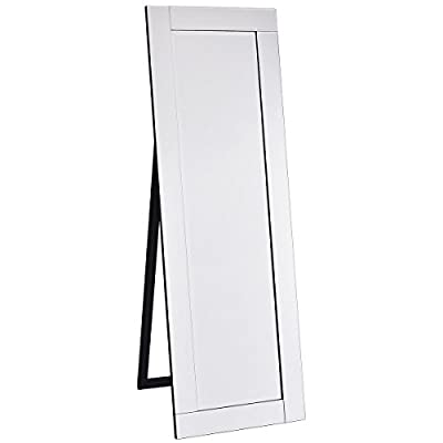 Giantex Full Length Dressing Mirror Wooden Frame Home Bedroom Floor Free Standing Mirror Silver - Long-Lasting Wooden Construction- The entire frame is made of wood which is solid and durable enough to make the dressing mirror serve longer time. Steady and Stable Leg Frame- On the back of the mirror is there a supportive leg frame to offer great support to the whole mirror and ensure it can stand steadily on the floor. Two hinges closely connect the back leg frame with the front mirror frame. One middle hinge enables it can stand more stably. Modern and Simple Design- Silver color looks bright and glossy. It matches any decoration of your room and home. Clean-lined and simple design symbolize attitude towards modern life and more obviously show your figure in the mirror. Full strength mirror perfectly shows your figure. - mirrors-bedroom-decor, bedroom-decor, bedroom - 31rPVAhx7WL. SS400  -