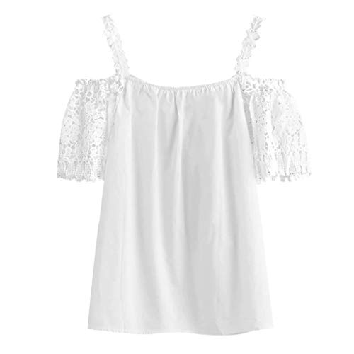 Zaidern Women's Camisole Ladies Summer Solid Blouse Lace Cold Shoulder Tank Tops White