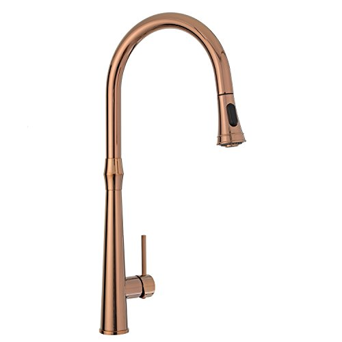 Kitchen Sink Faucet High Arc Copper Bronze Single Handle Pull Down Sprayer with Escutcheon Peppermint