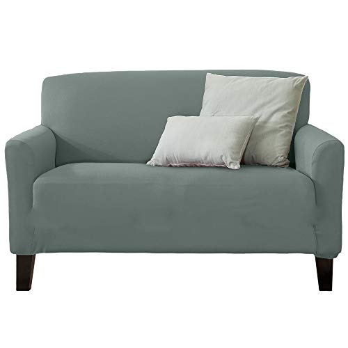 Home Fashion Designs Form Fit Stretch, Stylish Furniture Cover/Protector Featuring Lightweight Twill Fabric. Dawson Collection Basic Strapless Slipcover Brand. (Loveseat, Harbor Mist)